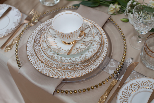 Vintage gold and white fine bone china to hire